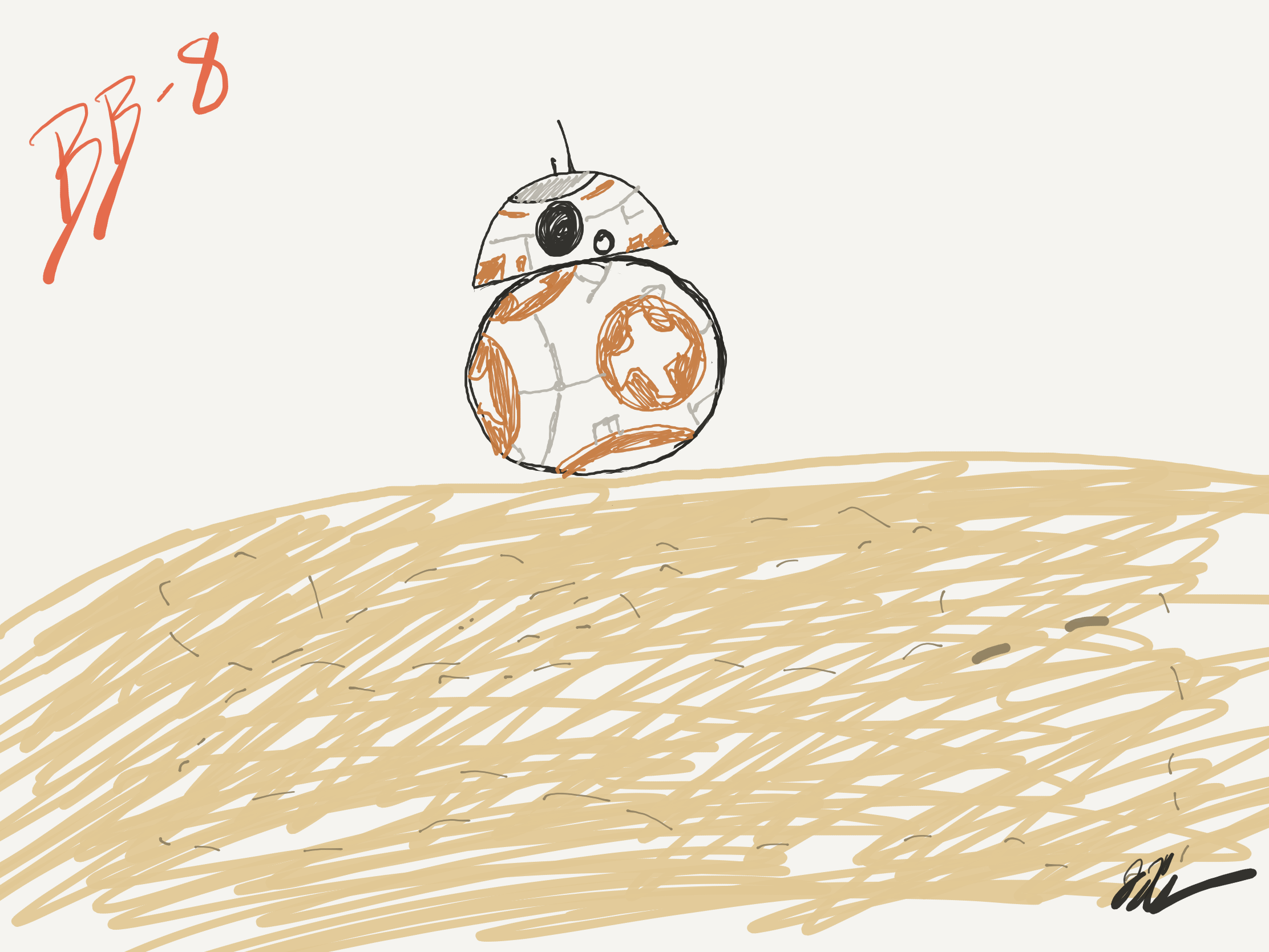 BB-8 drawn on the iPad Pro 10.5""