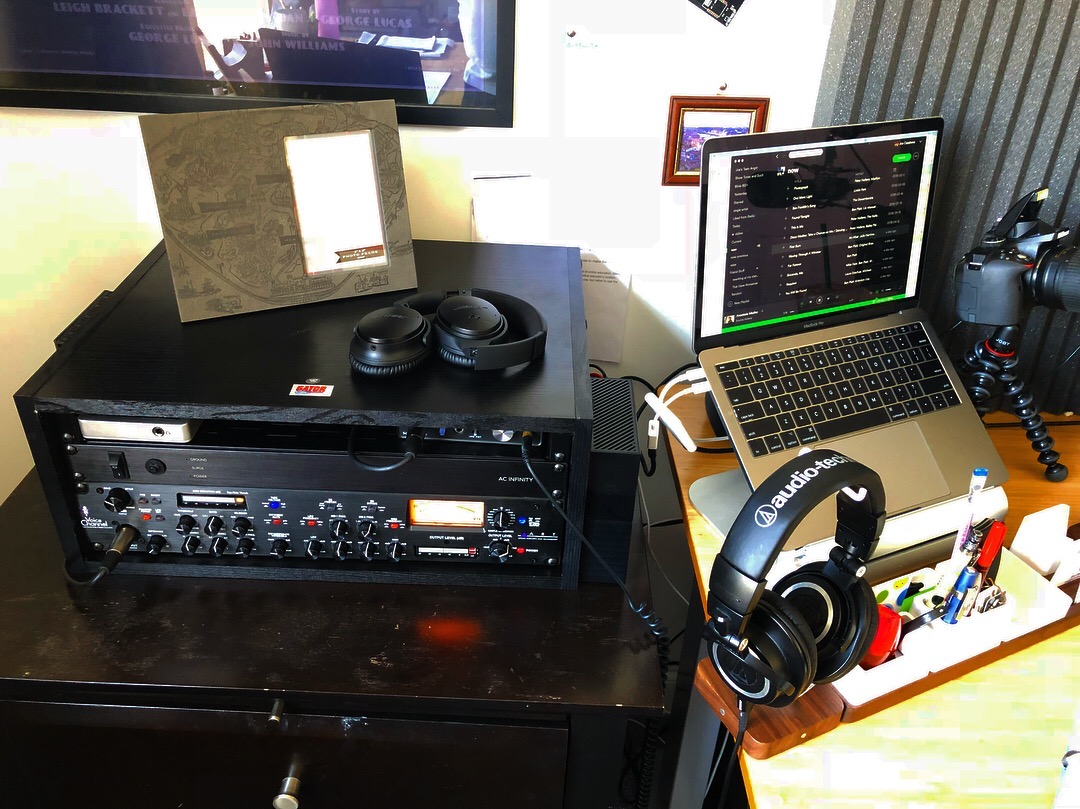 Podcast Setup - Rack with Preamp, Interface, and Powerstrip