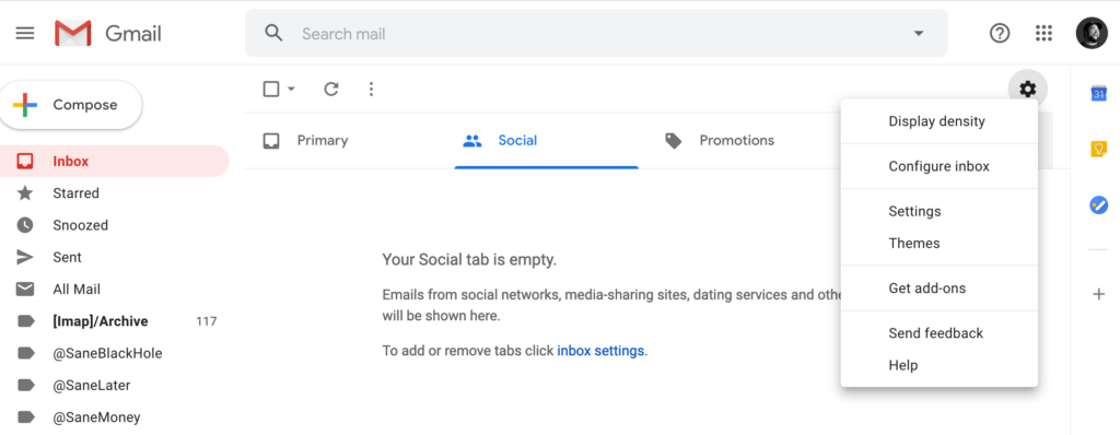 Gmail Settings: Cog with the Settings Area