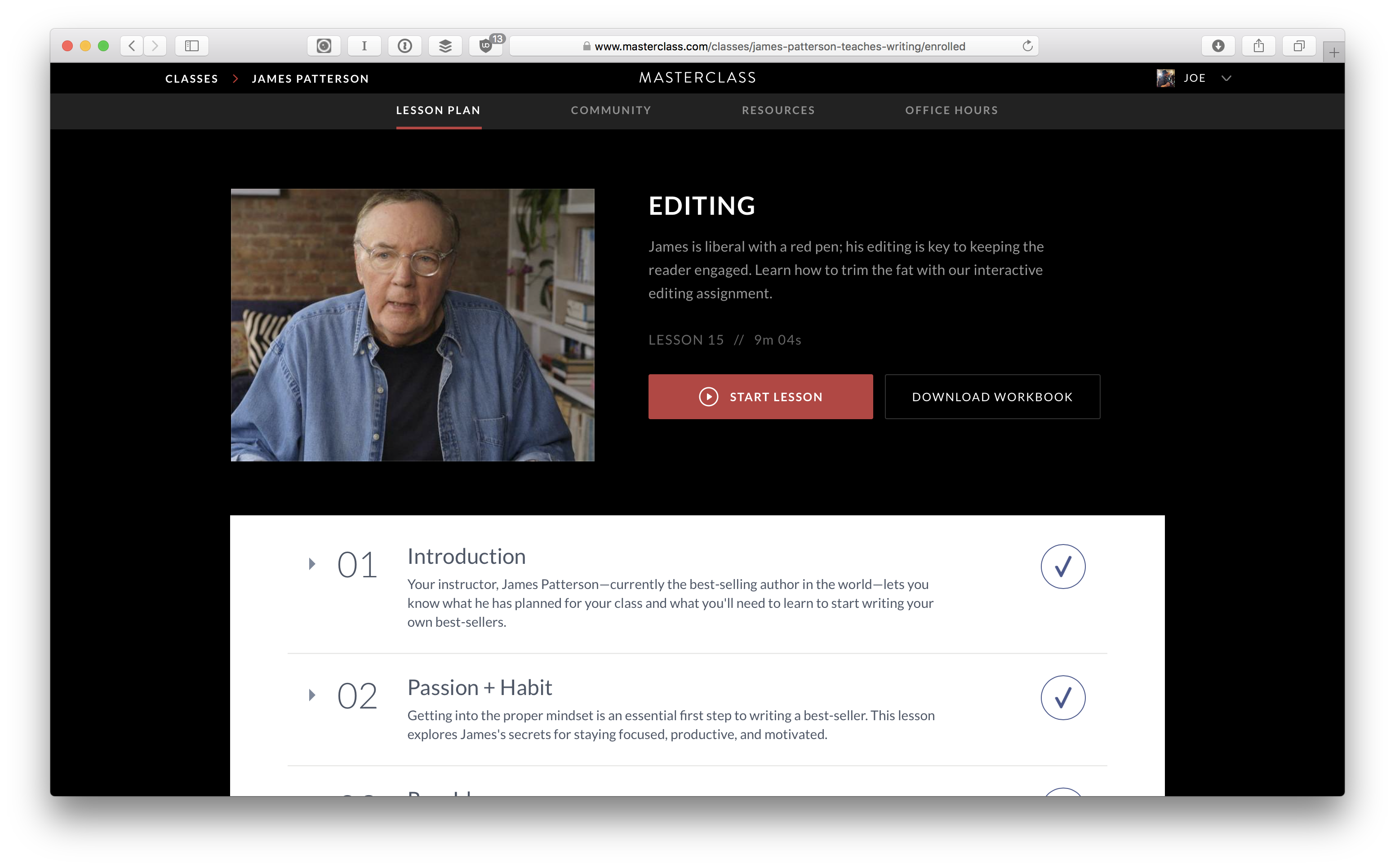 Learning Plan: James Patterson's Masterclass