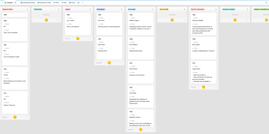 Kanban view of my  podcast schedule from Airtable