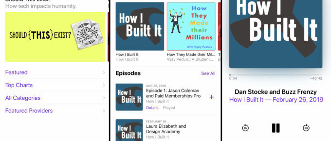 Apple Podcasts Browse, Search, and Listen screens