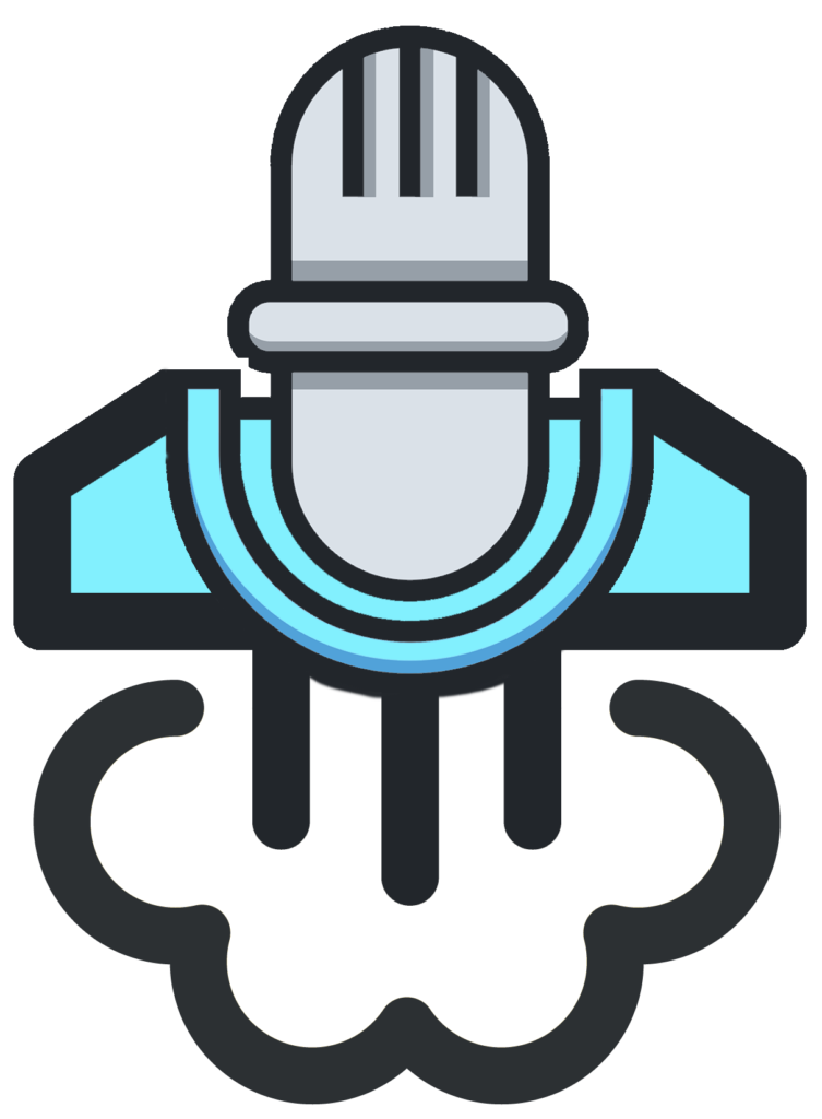 Podcast Liftoff Logo - a mic with a rocket for a base.