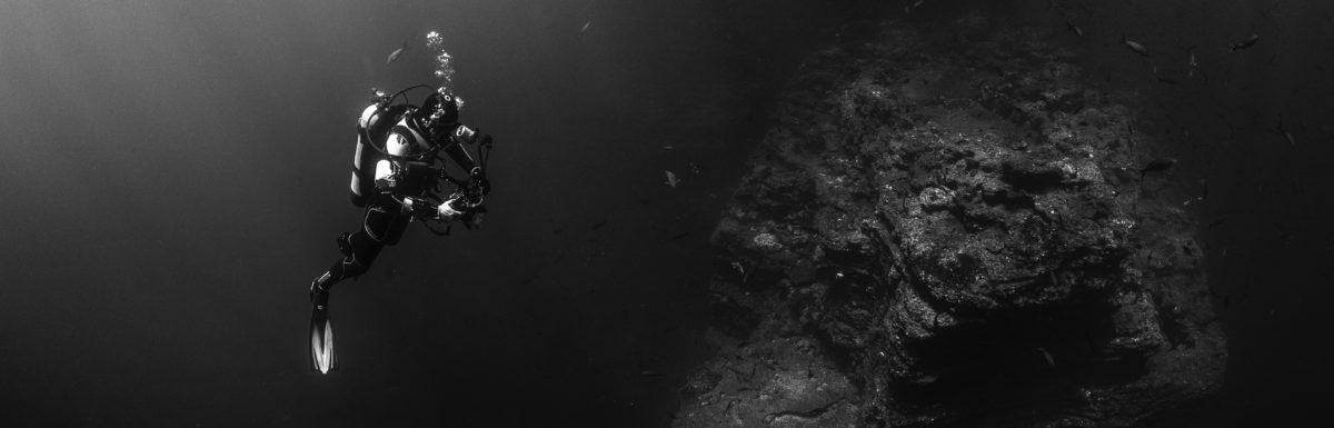 Person in underwater cave